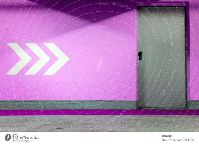 Ausweg Stil Design Innenarchitektur Mauer Wand Tür Zeichen Schilder & Markierungen Linie Pfeil trendy grau violett weiß Farbe Wege & Pfade Ziel Notausgang