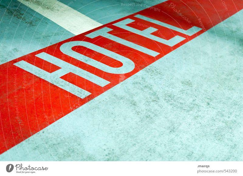 Hotel Stil Ferien & Urlaub & Reisen Dienstleistungsgewerbe Beton Schriftzeichen Streifen einfach grau rot Bodenmarkierung hell Gewerbe Farbfoto Innenaufnahme