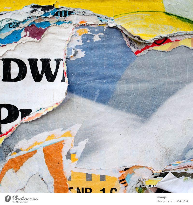 Abriss Stil Design Entertainment Medienbranche Werbebranche Ausstellung Printmedien Schriftzeichen Schilder & Markierungen trashig Papier Plakat Schwarzes Brett