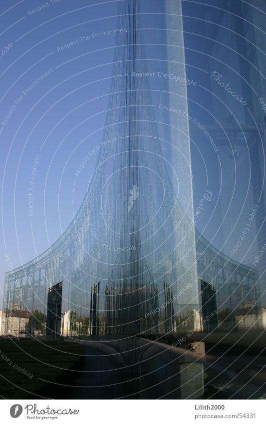 Glas-Achterbahn Himmel blau Stadt Haus Gebäude Glas Fassade modern Spiegel Köln Doppelbelichtung Express Verlag