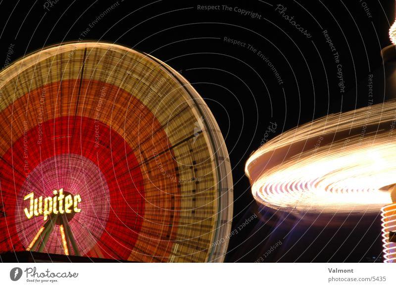 herbstmesse freiburg III Nacht Licht Riesenrad Langzeitbelichtung Kirmess Freiburg im Breisgau Farbe Jahrmarkt Karussell Geschwindigkeit Lichtspiel