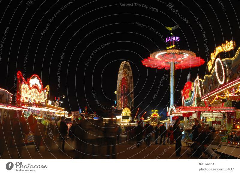 freiburger herbstmesse V Nacht Licht Langzeitbelichtung Kirmess Freiburg im Breisgau Farbe Karussell Jahrmarkt Freizeit & Hobby Freude Marktstand