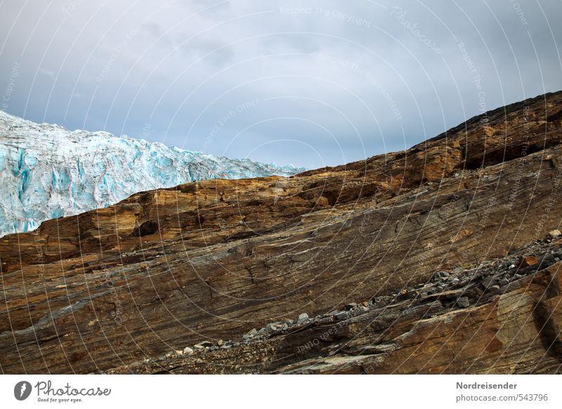 Dreiteilig blau Einsamkeit ruhig Wolken dunkel Berge u. Gebirge Felsen braun Eis ästhetisch Urelemente bedrohlich Abenteuer Wandel & Veränderung Frost rein