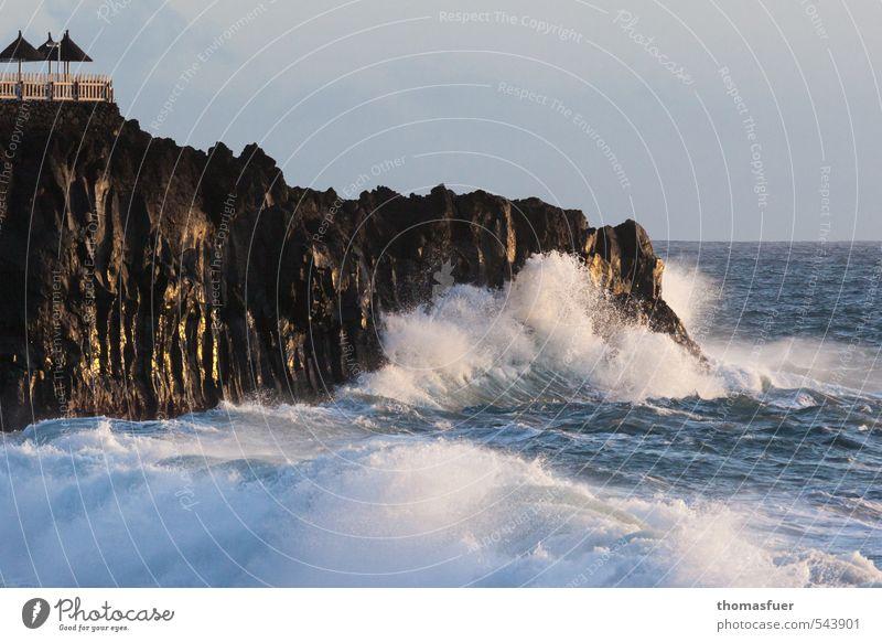 Brandung Himmel Natur Ferien & Urlaub & Reisen blau Wasser Sonne Meer Landschaft Strand Ferne Bewegung Freiheit Horizont Luft Erde Wellen