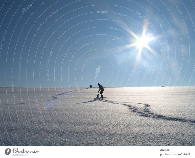 schnee Sonne Einsamkeit Schnee Spaziergang