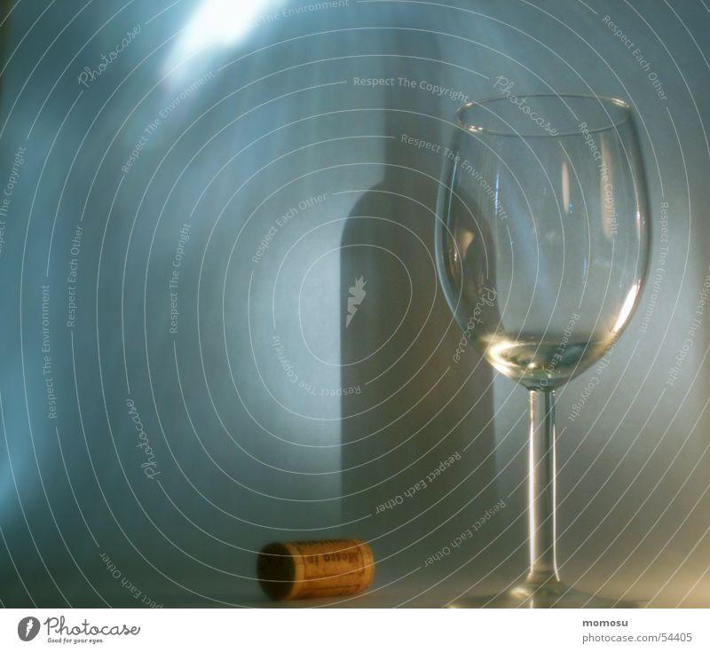 Schattenbetrug Beleuchtung Glas Wein Flasche Korken