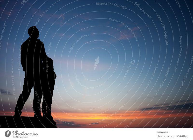 Vater/Sohn Mensch Kind Himmel Ferien & Urlaub & Reisen Mann blau Erholung Freude Erwachsene Leben Gefühle Freiheit Familie & Verwandtschaft Zusammensein