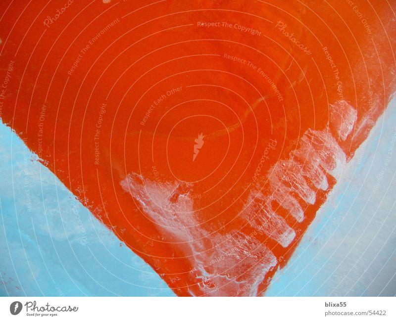 gefrorenes Kissen Block kalt Eis Eishaus Schnellzug Luftblase obskur Vergänglichkeit stoff kissen frozen orange clean Wasser reduzieren unverrückbar