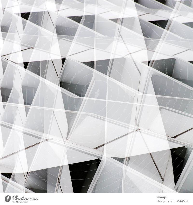 Fassade weiß schwarz Architektur außergewöhnlich Linie hell modern Perspektive ästhetisch einzigartig neu Kunststoff trendy Irritation eckig