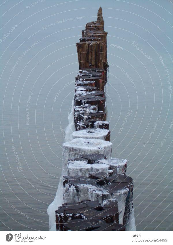 Horizont weiß Meer Winter Einsamkeit kalt Holz grau Eis leer Sehnsucht gefroren Barriere Pfosten roh