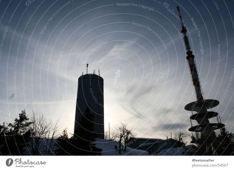 Inselberg Baum Sonne Winter Wolken Schnee Turm Antenne Fernsehturm Februar Wetterstation