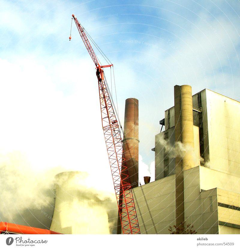 Kraftwerk Gebäude Industriefotografie Schornstein Kran Wasserdampf