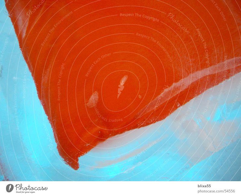 gefrorenes Kissen II ruhig kalt Eis Feste & Feiern orange obskur gefroren durchsichtig gefangen Luftblase Schnellzug Block Kissen Blubbern eingeschlossen