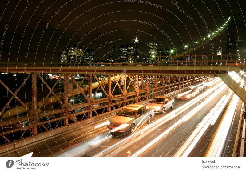Brooklyn Bridge Stadt orange Hochhaus New York City Manhattan beige Brooklyn