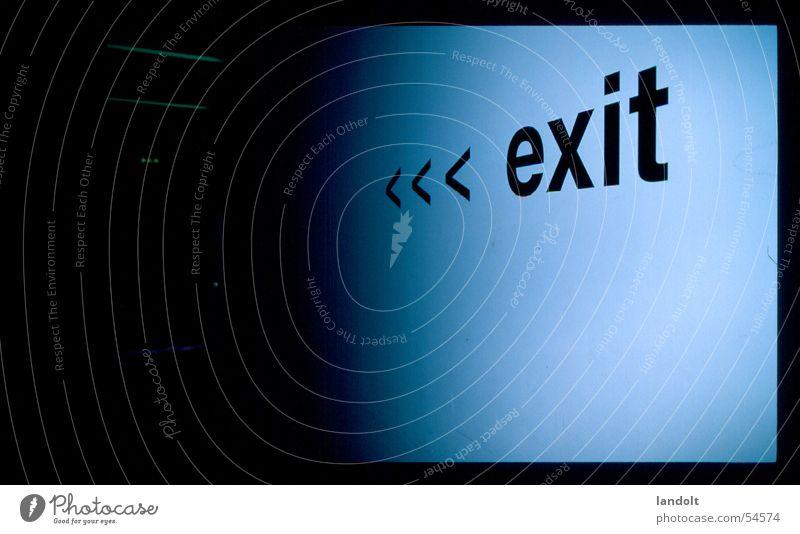 exit Ausgang Signaletik wohin Weltausstellung Tod blau leer