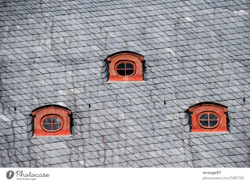 Drei Augen Quedlinburg Deutschland Sachsen-Anhalt Europa Kleinstadt Stadtzentrum Altstadt Menschenleer Haus Fachwerkhaus Fenster Dach Dachgaube rot schwarz