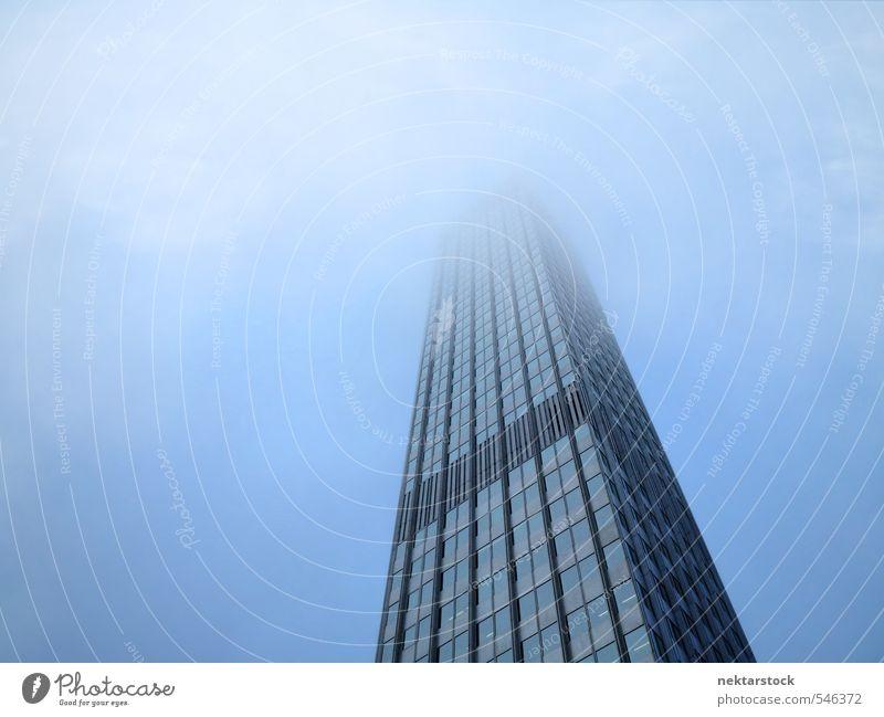 Europäische Zentralbank Frankfurt Stadt blau dunkel Architektur Stimmung Deutschland Business Wetter Büro Nebel Hochhaus Erfolg Europa nass Macht Skyline