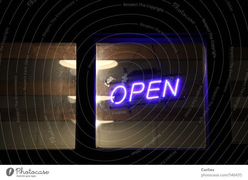 Hereinspaziert Raum Nachtleben Fenster Zeichen Schriftzeichen Ziffern & Zahlen leuchten blau schwarz Freizeit & Hobby Leben Open offen Leuchtreklame