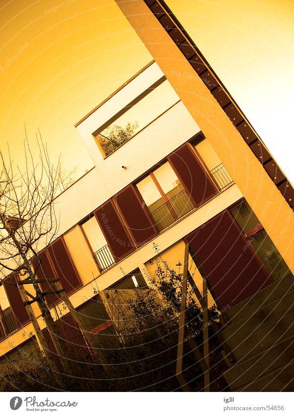 wohnsiedlung modern Haus Gebäude Wohnung Wohnsiedlung braun rot Baum Fenster Richtung Balkon Fensterladen bequem flach Farbverlauf Mauer Froschperspektive