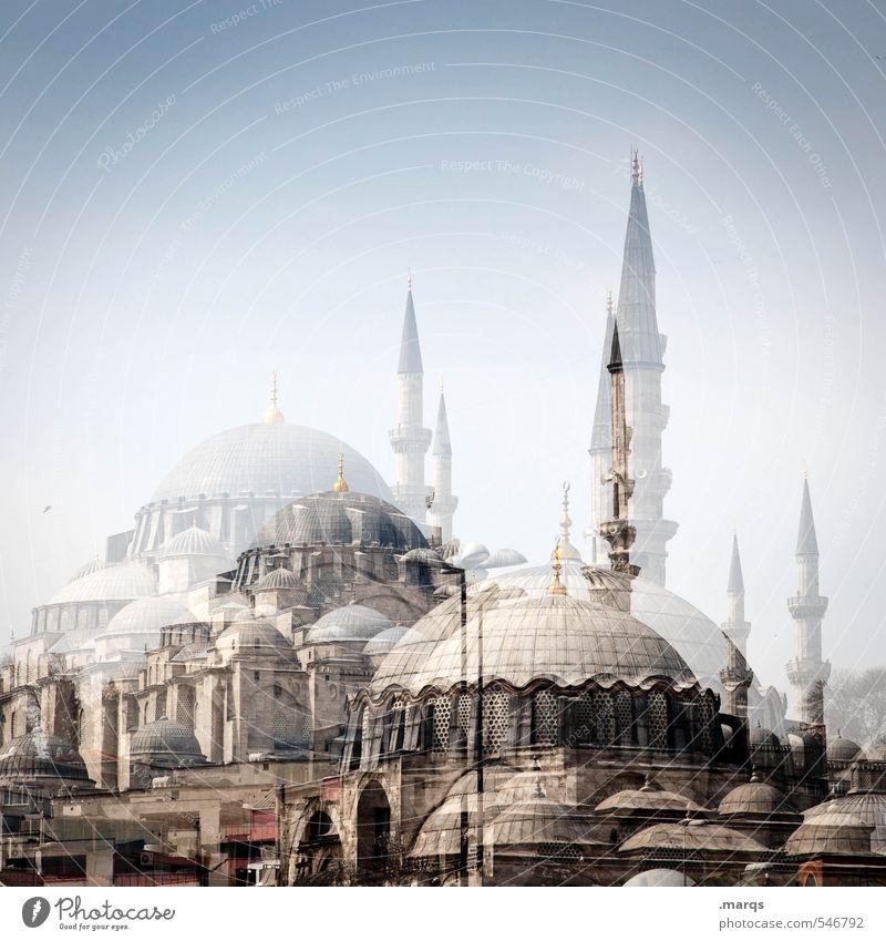Istanbul Ferien & Urlaub & Reisen schön Sommer Gebäude Architektur Religion & Glaube außergewöhnlich hell Tourismus historisch Bauwerk Wolkenloser Himmel Doppelbelichtung Sightseeing Türkei Städtereise