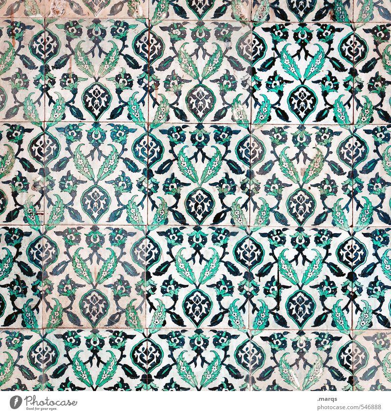 Gekachelt Lifestyle elegant Stil Design Kunst Kultur Mauer Wand Fliesen u. Kacheln Ornament alt einfach schön blau grün weiß exotisch Hintergrundbild