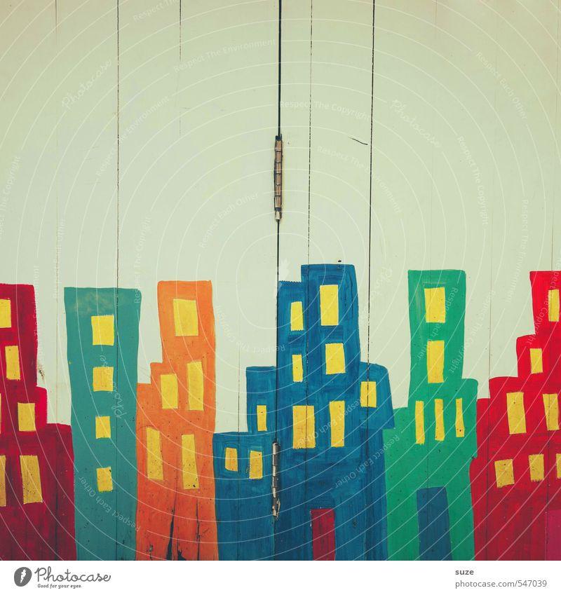 Stadtlichter Lifestyle Stil Design Dekoration & Verzierung Kunstwerk Skyline Mauer Wand Fassade Holz Graffiti Linie Streifen Freundlichkeit Fröhlichkeit hoch