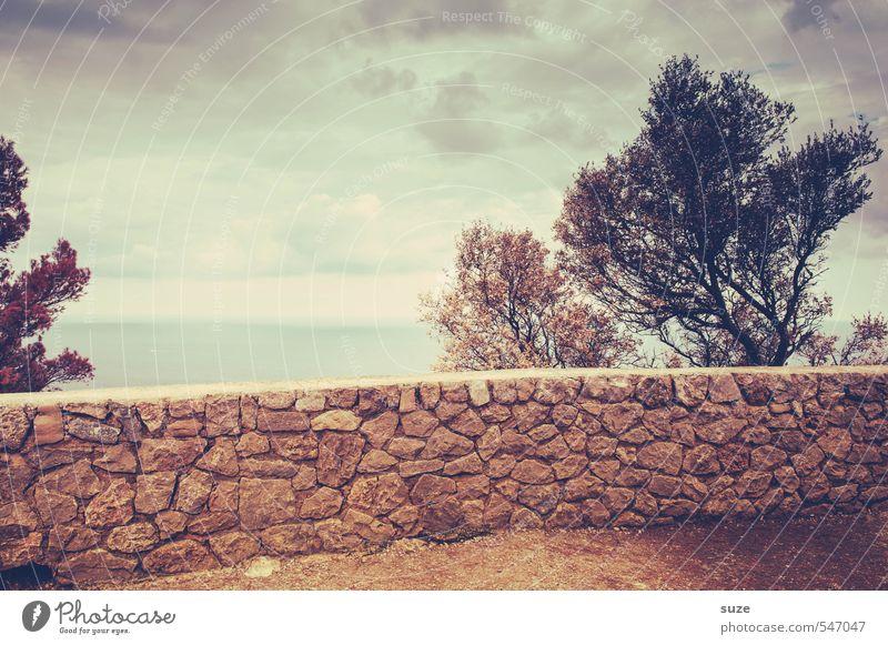 Natursteinmauer Himmel Ferien & Urlaub & Reisen alt Sommer Baum Meer Einsamkeit Landschaft Umwelt Wärme Wand Reisefotografie Küste Mauer Erde