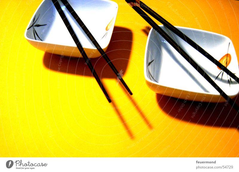 Asien für 2 China Japan Essstäbchen Fernost Schalen & Schüsseln Sushi gelb Ernährung skewer far east