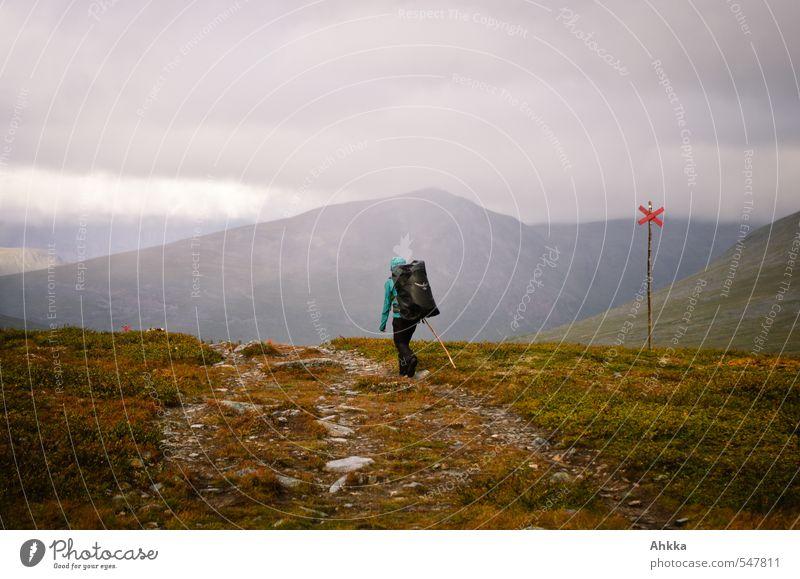 Der Weg ist das Ziel Mensch Jugendliche Junge Frau ruhig Ferne Berge u. Gebirge Leben Gefühle Wege & Pfade Freiheit Stimmung Kraft Klima frei Erfolg wandern