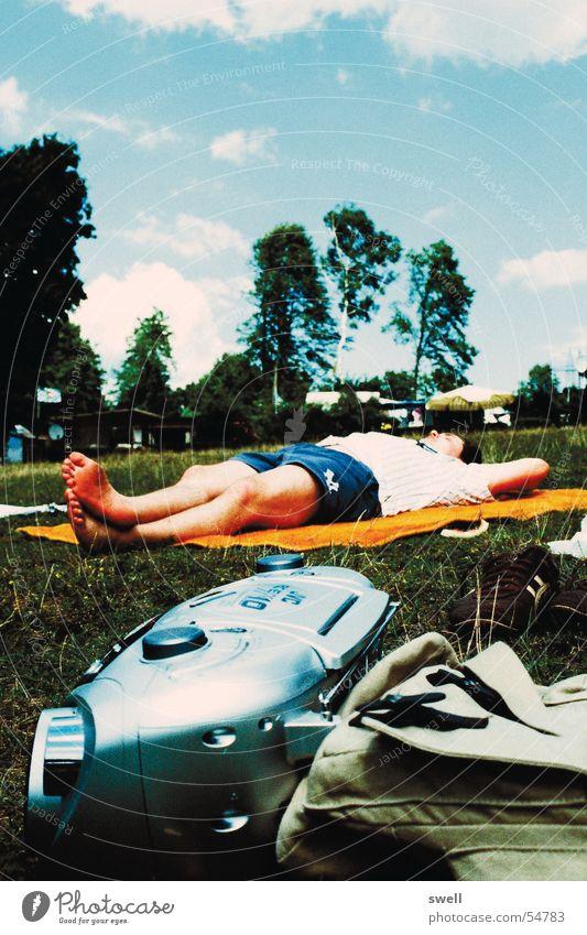 Chillin Himmel Sonne Sommer Strand Erholung Wiese See liegen Radio