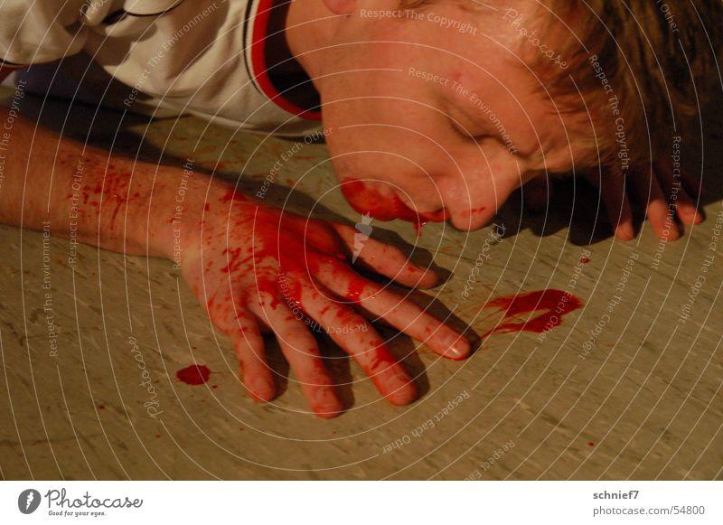 Blutrot Hand Finger Wut Niederlage Gewalt amoklauf Opfer