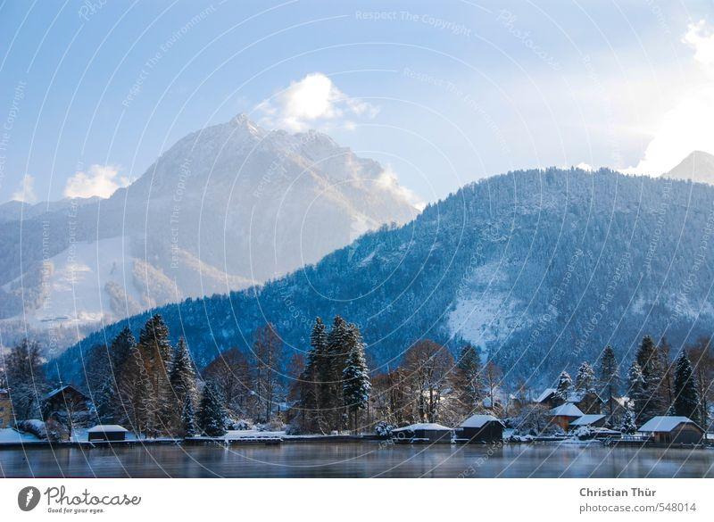 Winter in den Bergen Himmel Natur blau schön weiß Wasser Landschaft Wolken schwarz Winter Berge u. Gebirge Schnee Glück See Felsen Eis