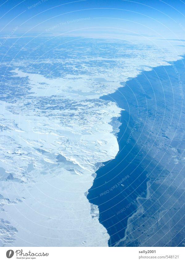 Kommt jetzt der Winter? Natur blau Wasser Meer Einsamkeit Landschaft Ferne kalt Umwelt Horizont Eis Klima Luftverkehr Schönes Wetter Abenteuer Frost