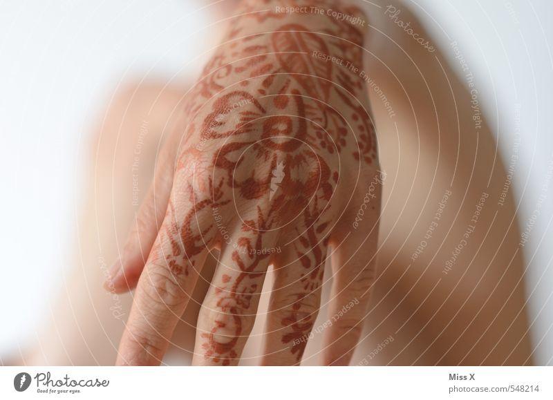Henna Hochzeit Mensch Junge Frau Jugendliche Haut Hand Finger 1 zeichnen exotisch Hennamalerei henna-rot Tattoo Blume Blumenmuster Muster Ornament Indien Ritual