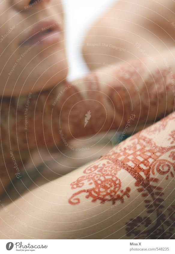 Ornament schön Haut Hochzeit Mensch feminin Junge Frau Jugendliche Erwachsene Arme 1 exotisch Farbe Tradition Henna Hennamalerei henna-rot Muster Indien Asien