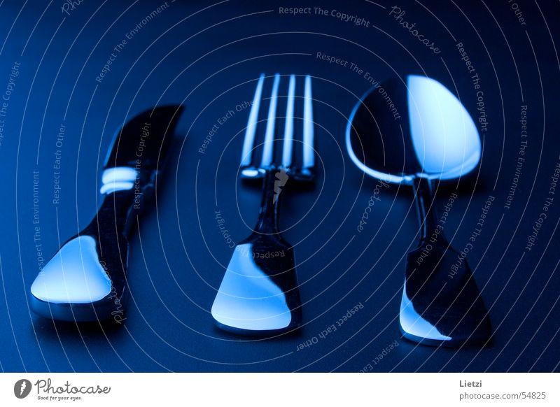 Spaten-Besteck Gabel Löffel dunkel schwarz Messer blau Chrom