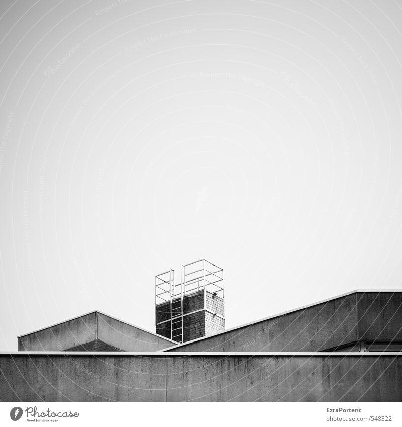 bau auf Kunst Haus Industrieanlage Fabrik Bauwerk Gebäude Architektur Mauer Wand Dach Schornstein Stein Beton Häusliches Leben ästhetisch eckig einfach schwarz
