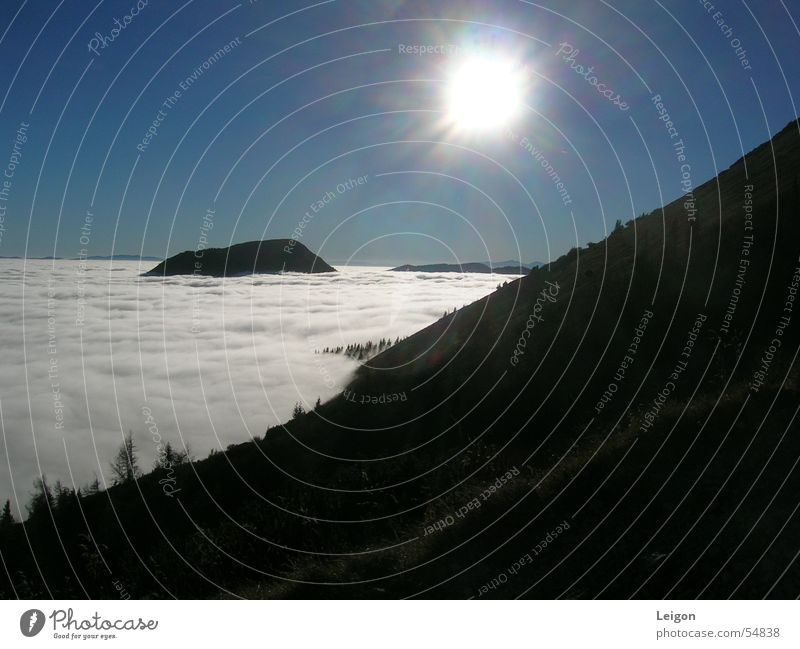 Über den Wolken 1 weiß Sonne grün Wolken Herbst Berge u. Gebirge Österreich Blauer Himmel Berg Hohe Veitsch
