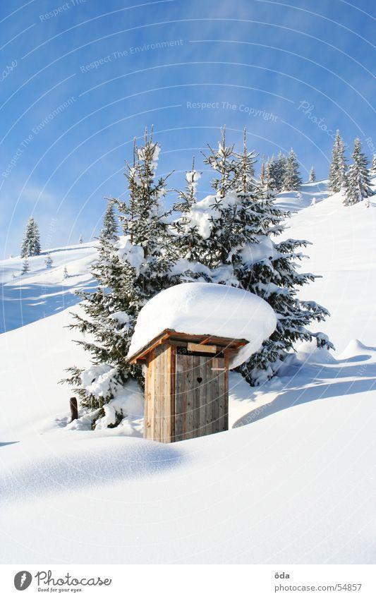 Scheiss-Haus Winter Plumpsklo Dorf Schnee Baum kalt Eis Toilette Berge u. Gebirge