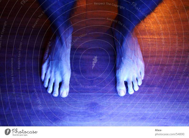 Blue foot oben Holz Fuß Beine laufen stehen Bodenbelag Zehen Parkett Barfuß Gefäße