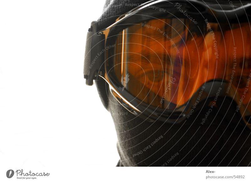 Schneeschutz Winter Brille Sturmmaske Mütze Krimineller Mann Kunststoff Gesicht Maske Schutz Wind orange Glas Blick
