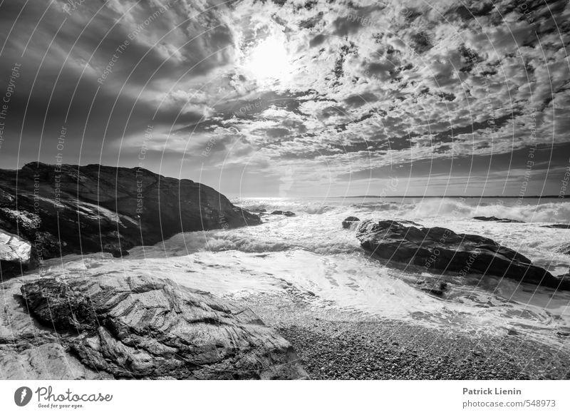 Recreation Himmel Natur Ferien & Urlaub & Reisen Wasser weiß Sonne Meer Landschaft Wolken Strand Umwelt Gefühle Küste Freiheit Stein Sand