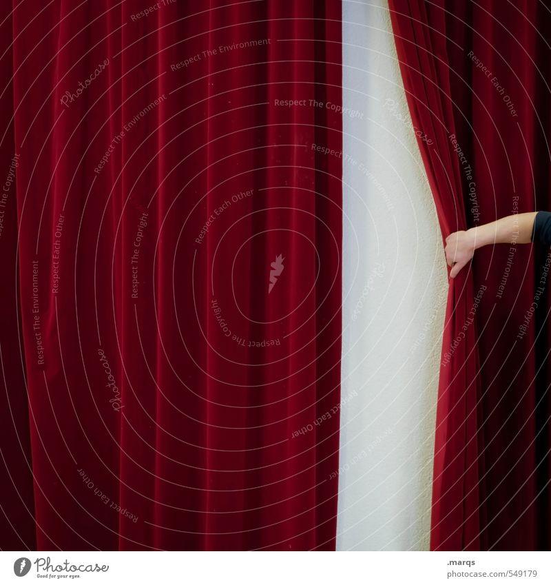 Vorhang auf! Farbe Hand rot Arme ästhetisch Beginn Zukunft Show Zeichen Kultur neu Neugier Veranstaltung Überraschung Entertainment