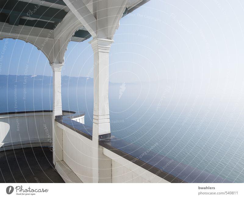 Ausblick Himmel Natur blau weiß Wasser Sonne Winter Gebäude See Wetter Nebel Schönes Wetter Aussicht Seeufer Balkon Wolkenloser Himmel