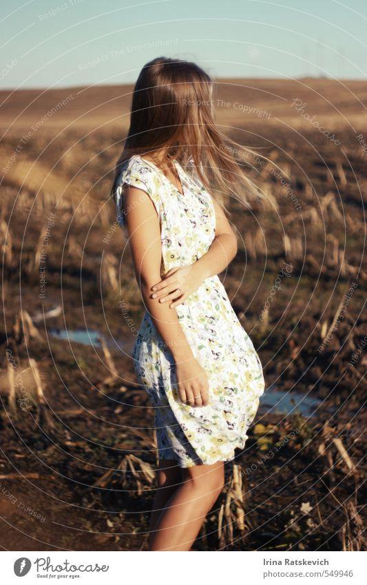 Mädchen auf dem Feld mit fliegenden Haaren Junge Frau Jugendliche Haare & Frisuren Hand Finger Beine 1 Mensch 18-30 Jahre Erwachsene Landschaft Himmel