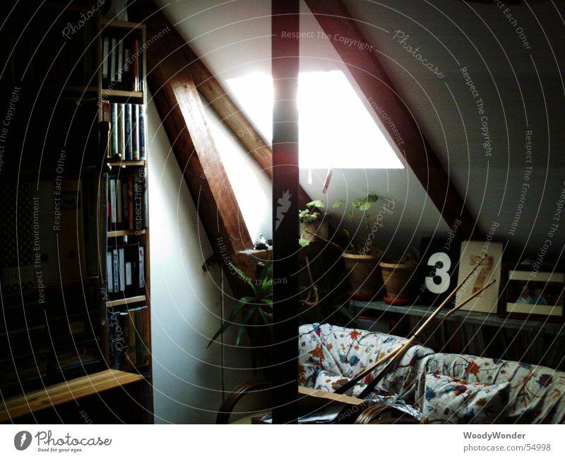 Unterm Dach Kammer Dachboden Luke Fachwerkfassade planen Fenster Trauer Balken Lichtblick Lichterscheinung verrückt Traurigkeit