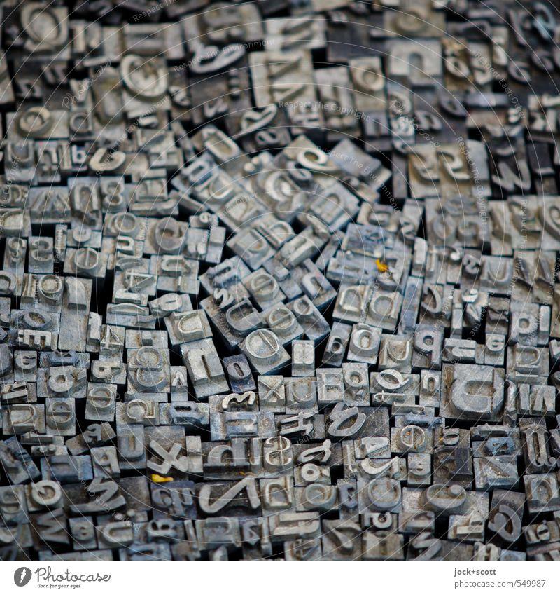 typografische Bescherung grau Design authentisch Schriftzeichen Technik & Technologie Kommunizieren Grafik u. Illustration Ziffern & Zahlen lesen historisch