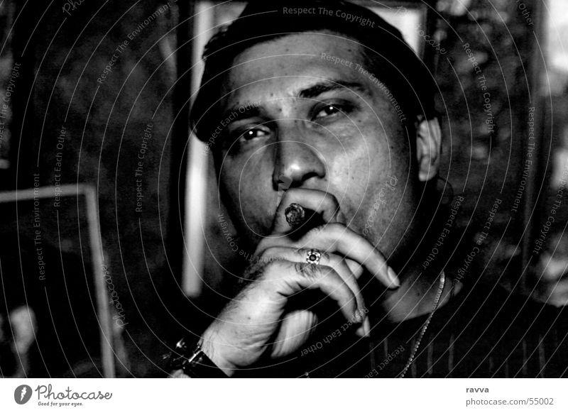 3 Zigarre face man cigar Rauchen