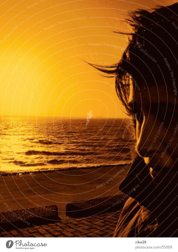 holland sunset... Sonnenuntergang Meer Abenddämmerung Silhouette Niederlande Wellen Profil Küste