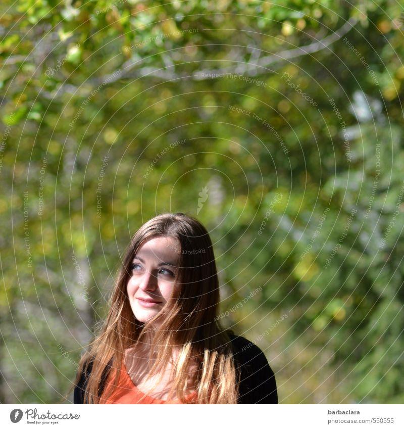Seelenbalsam   Sonne tanken Mensch Frau Natur Jugendliche Pflanze grün Baum Erholung Landschaft ruhig 18-30 Jahre Umwelt Erwachsene Herbst Gefühle